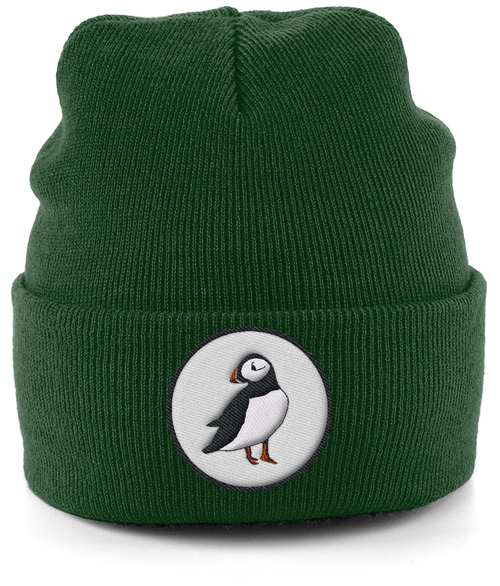Puffin Embroidered Beanie in Green