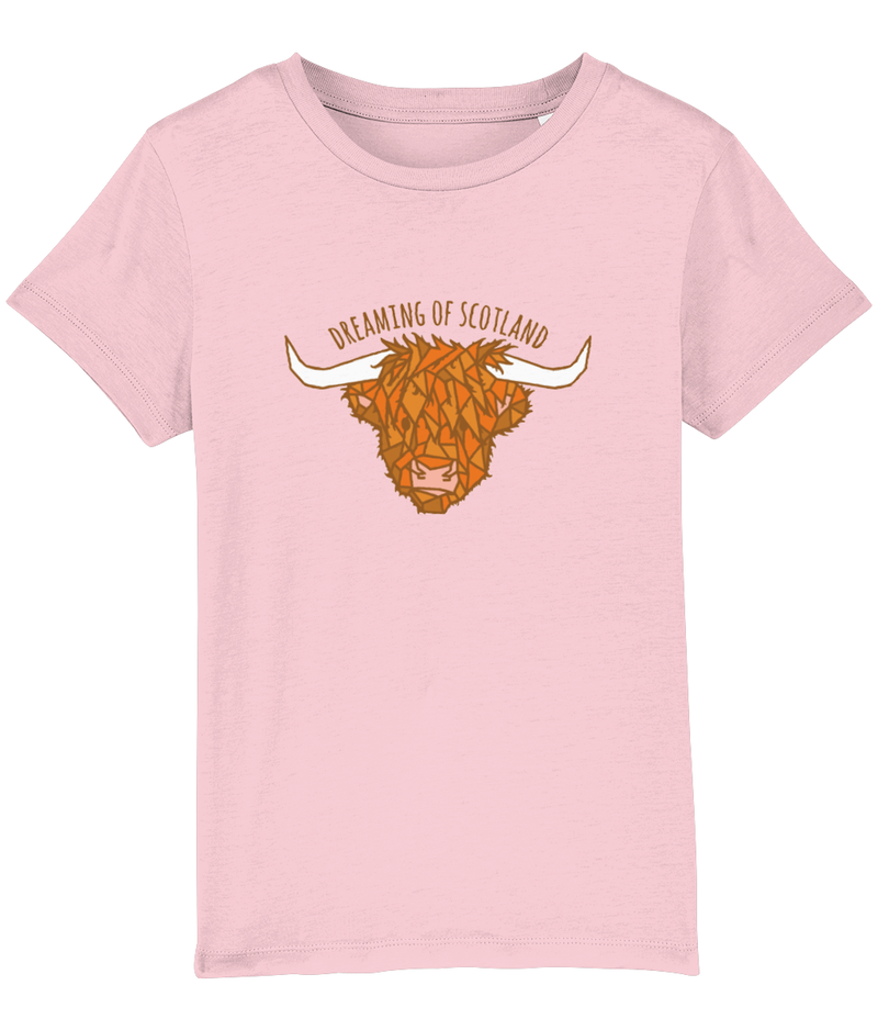 Highland Cow Kids T-Shirt in Pink