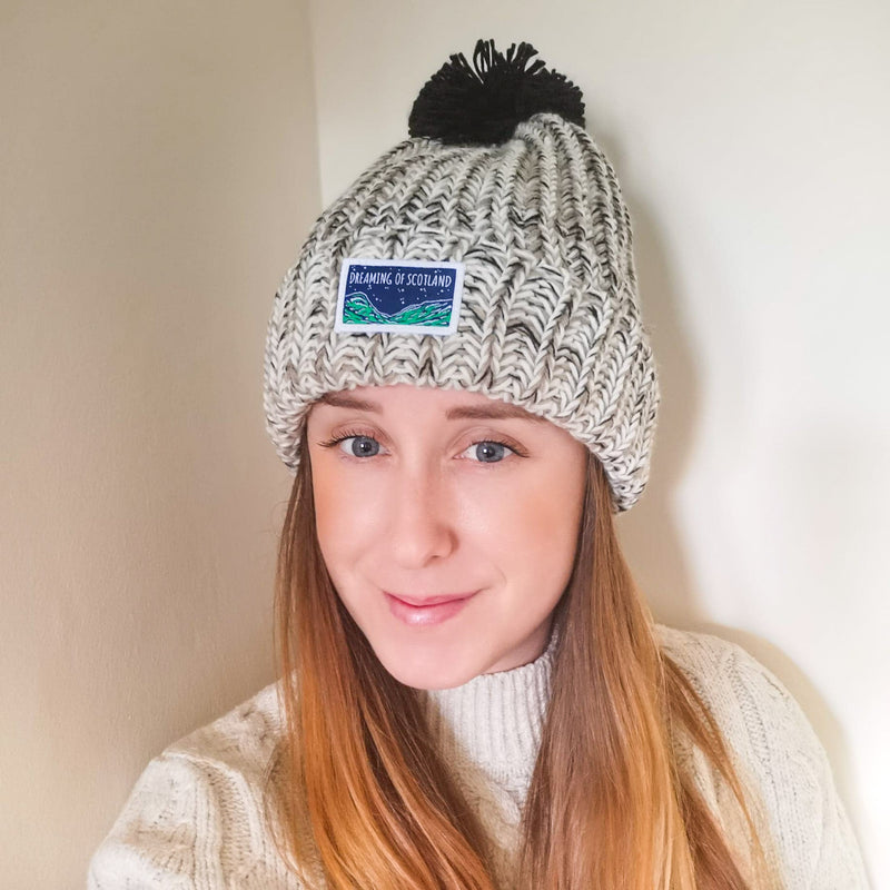 Dreaming of Scotland Pom Pom Beanie in Cream