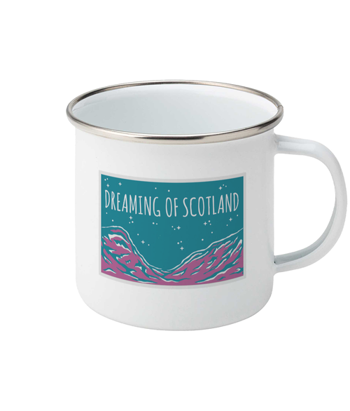 Dreaming of Scotland Enamel Mug in Pink + Aqua
