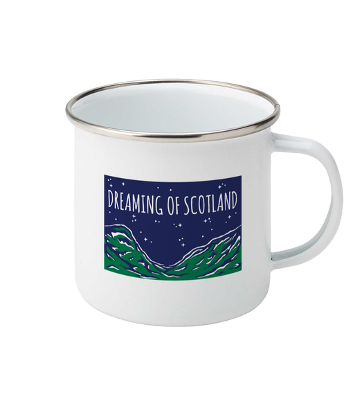 Dreaming of Scotland Enamel Mug in Blue + Green