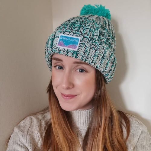 Dreaming of Scotland Pom Pom Beanie in Turquoise