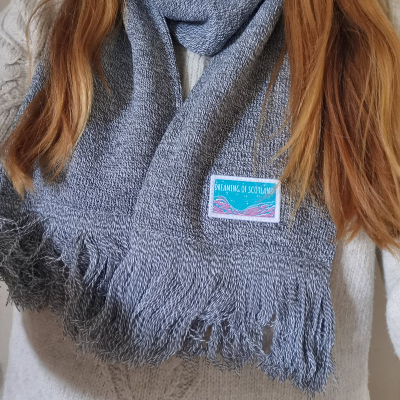 Dreaming of Scotland Knitted Scarf in Grey