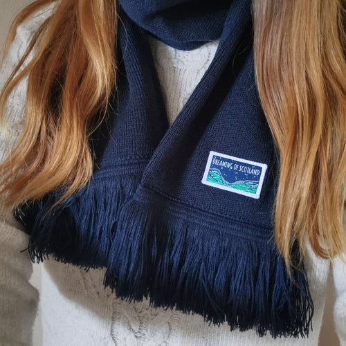 Dreaming of Scotland Knitted Scarf in Navy