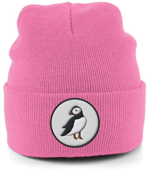 Puffin Embroidered Beanie in Pink