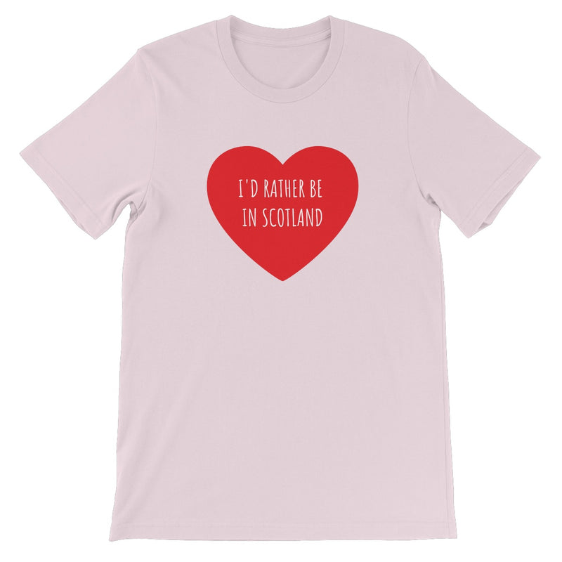 Rather Be in Scotland Unisex Short Sleeve T-Shirt in Soft Pink