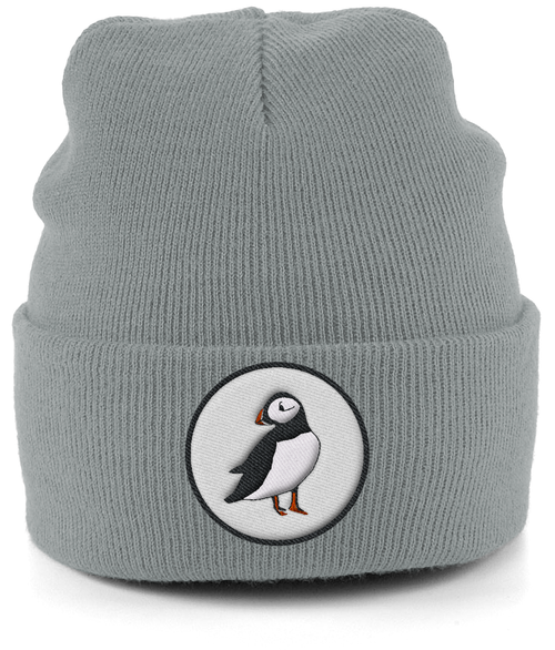 Puffin Embroidered Beanie in Grey