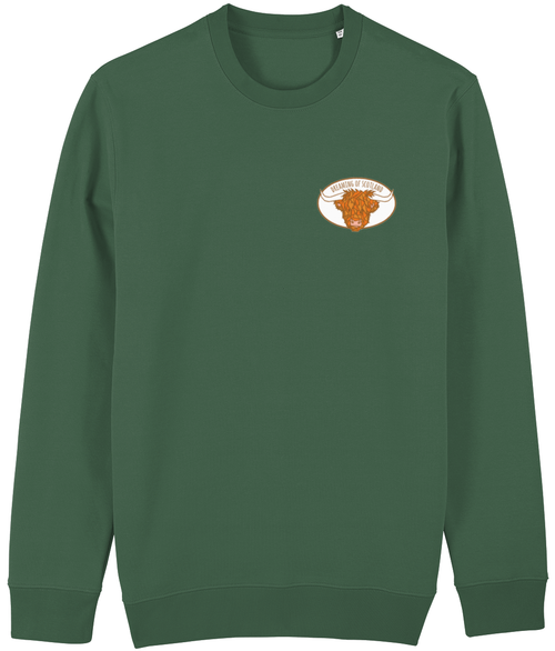 Highland Cow Unisex Sweatshirt in Green