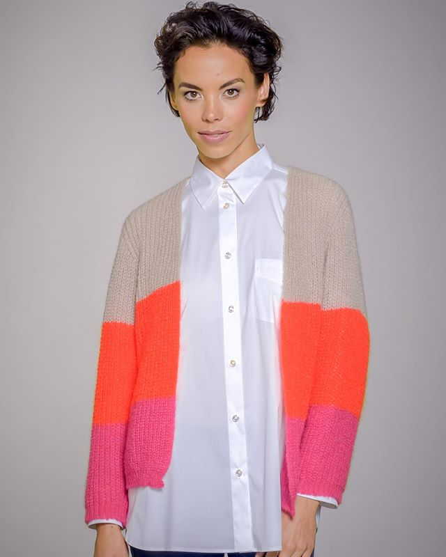 PNK/ORG Color Block Sweater