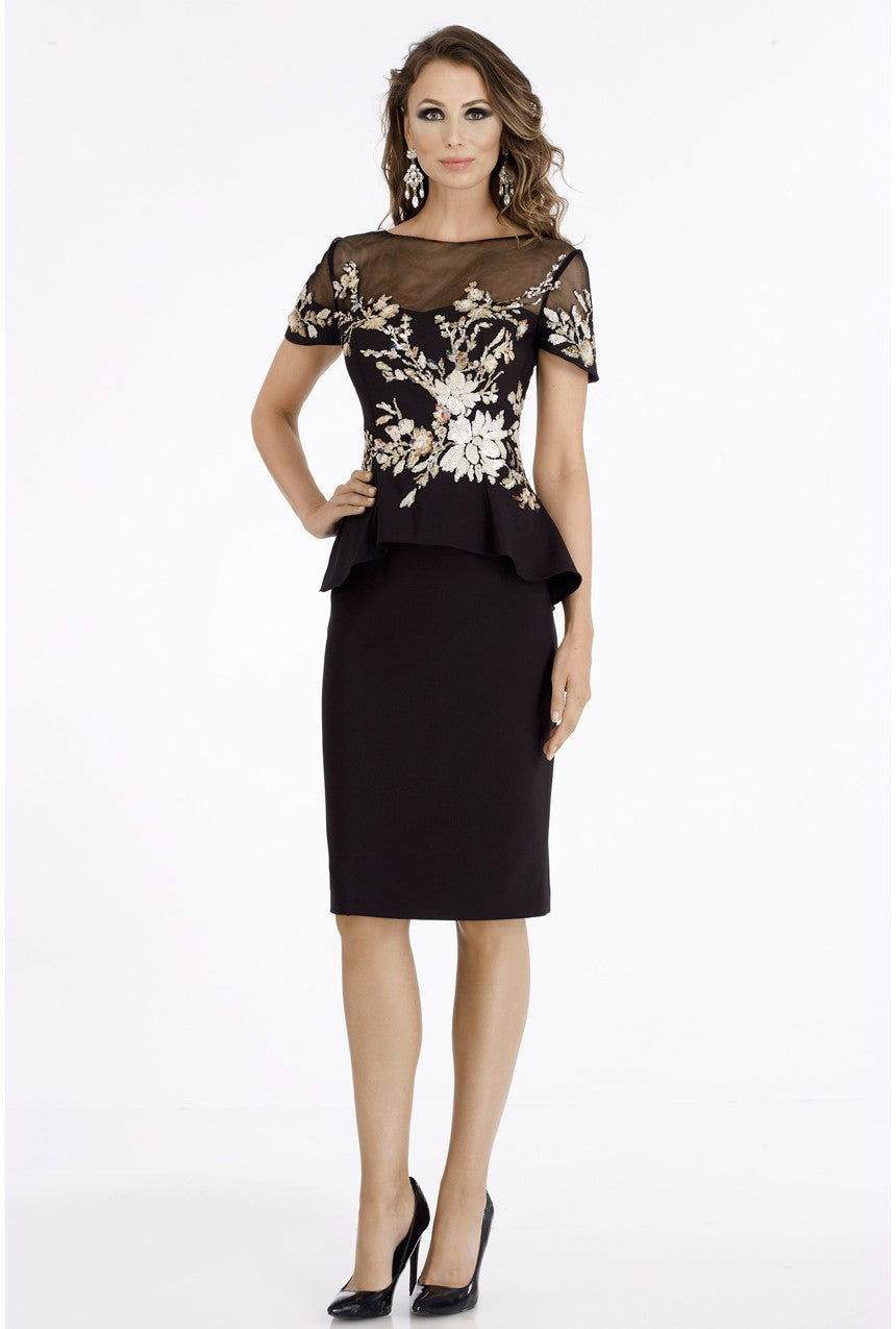 Floral Applique Peplum Dress