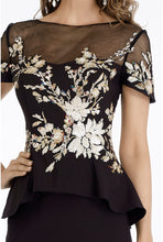 Load image into Gallery viewer, Floral Applique Peplum Dress
