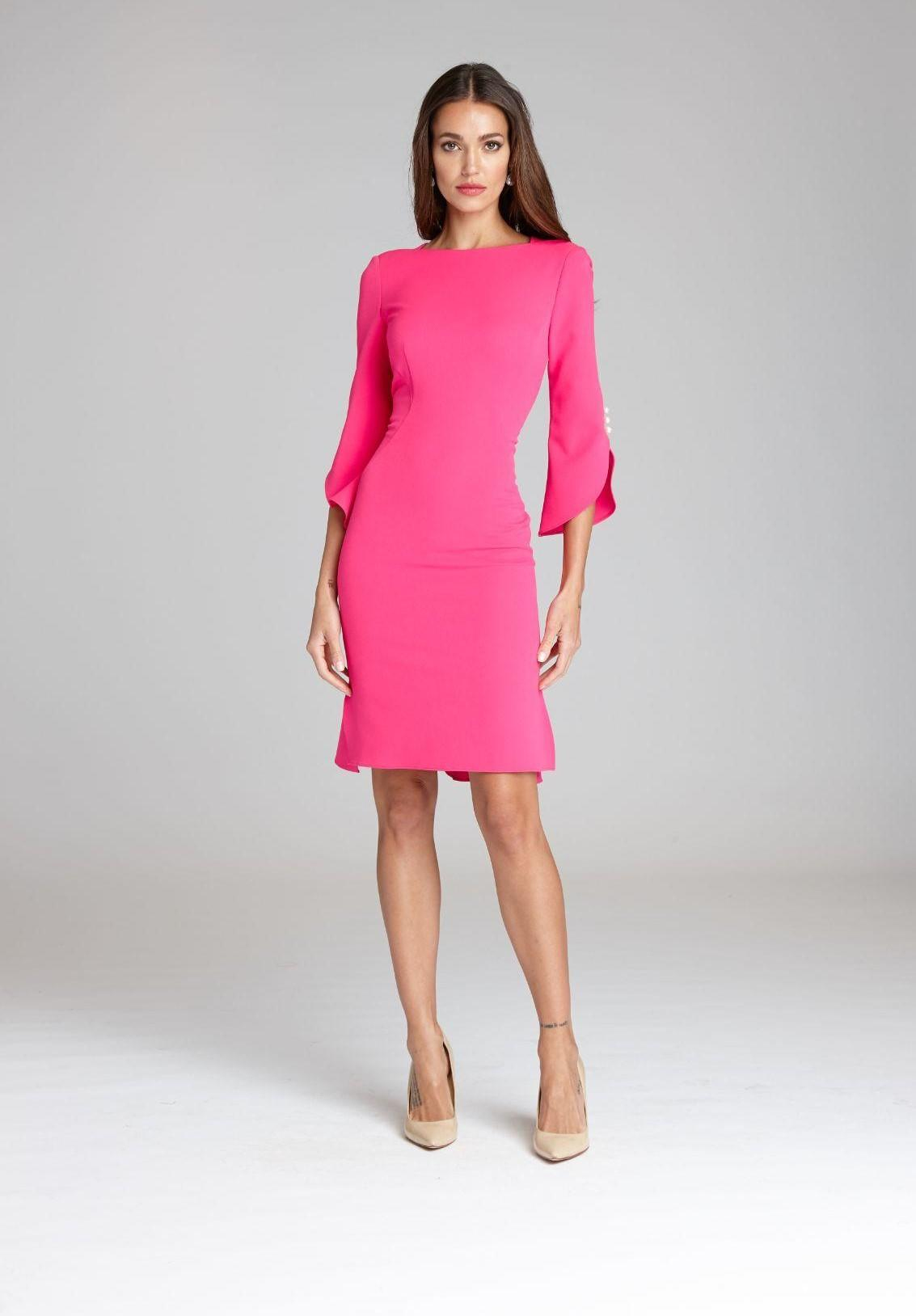Split Sleeve Crepe Dress