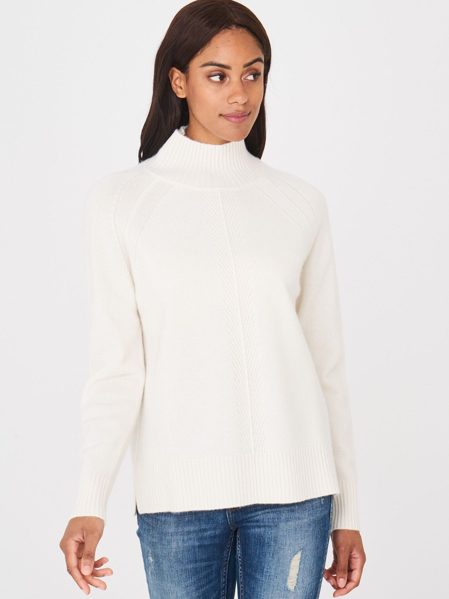 High Neck Cream Sweater