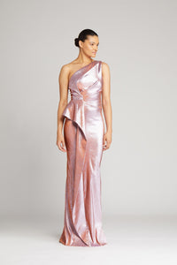 One Shoulder Stretch Metallic Side Ruffle Gown
