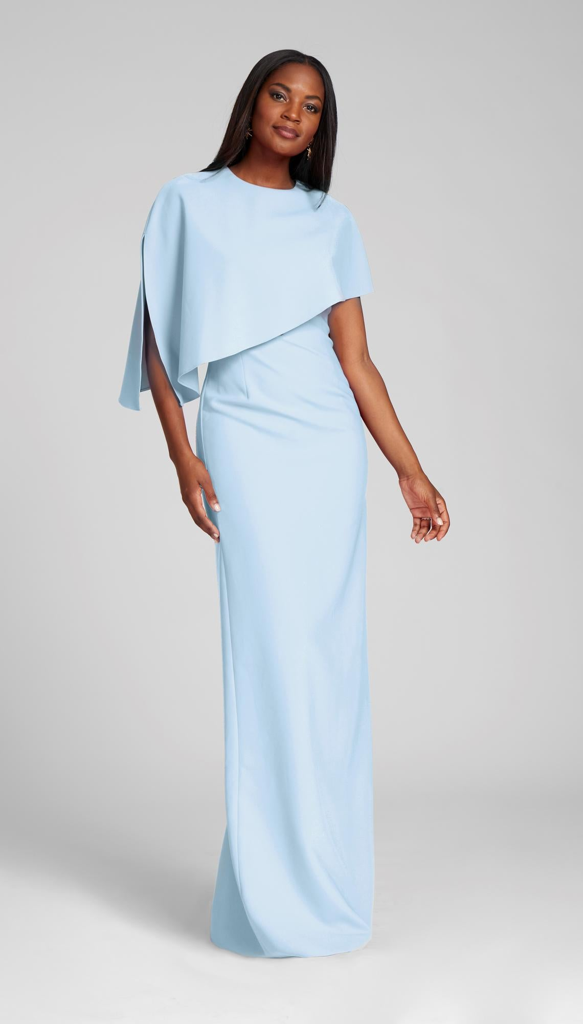 Asymmetrical Stretch Crepe Overlay Gown