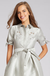 Short Sleeve Embroidered Cut Out Shirtdress