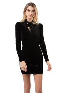 Velvet Tie-Neck Dress