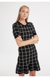Windowpane Jacquard Mini Dress