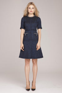 Pearl Trim Tweed Dress