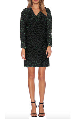 Black/Green Velvet Leopard Dress