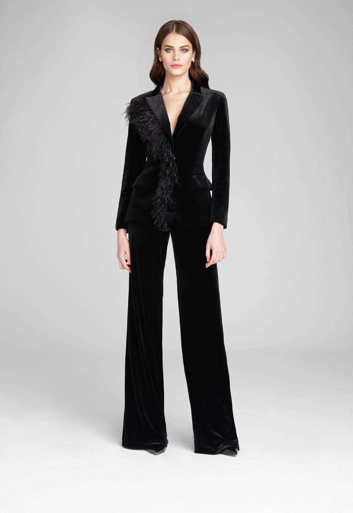 Velvet/ Ostrich Feather Blazer