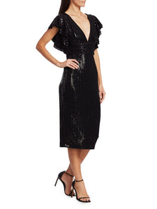 Sequin Flutter Sleeve Dress