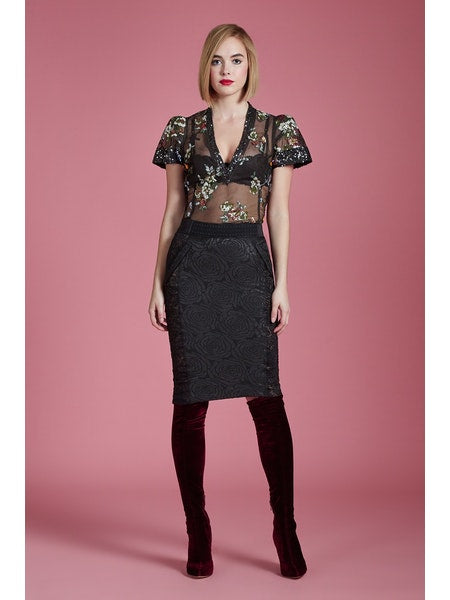 Rose Brocade Pencil Skirt