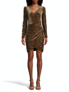 Leopard Rouched Wrap Dress