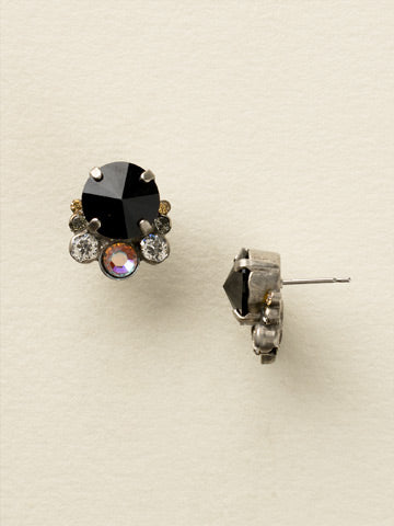 Multi-Cut Round Crystal Cluster Post Earring