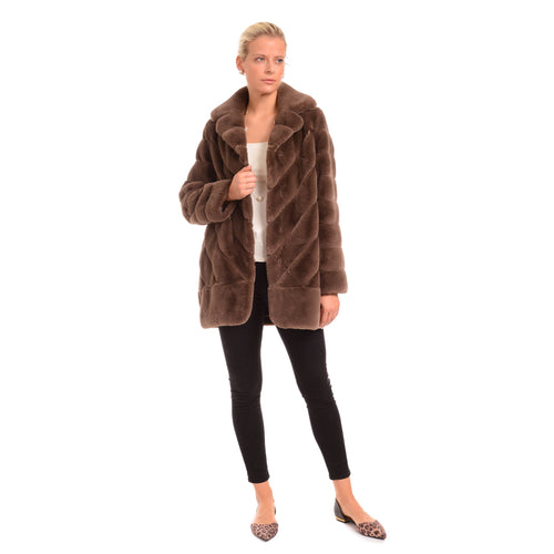 Ribbed Faux Fur Coat