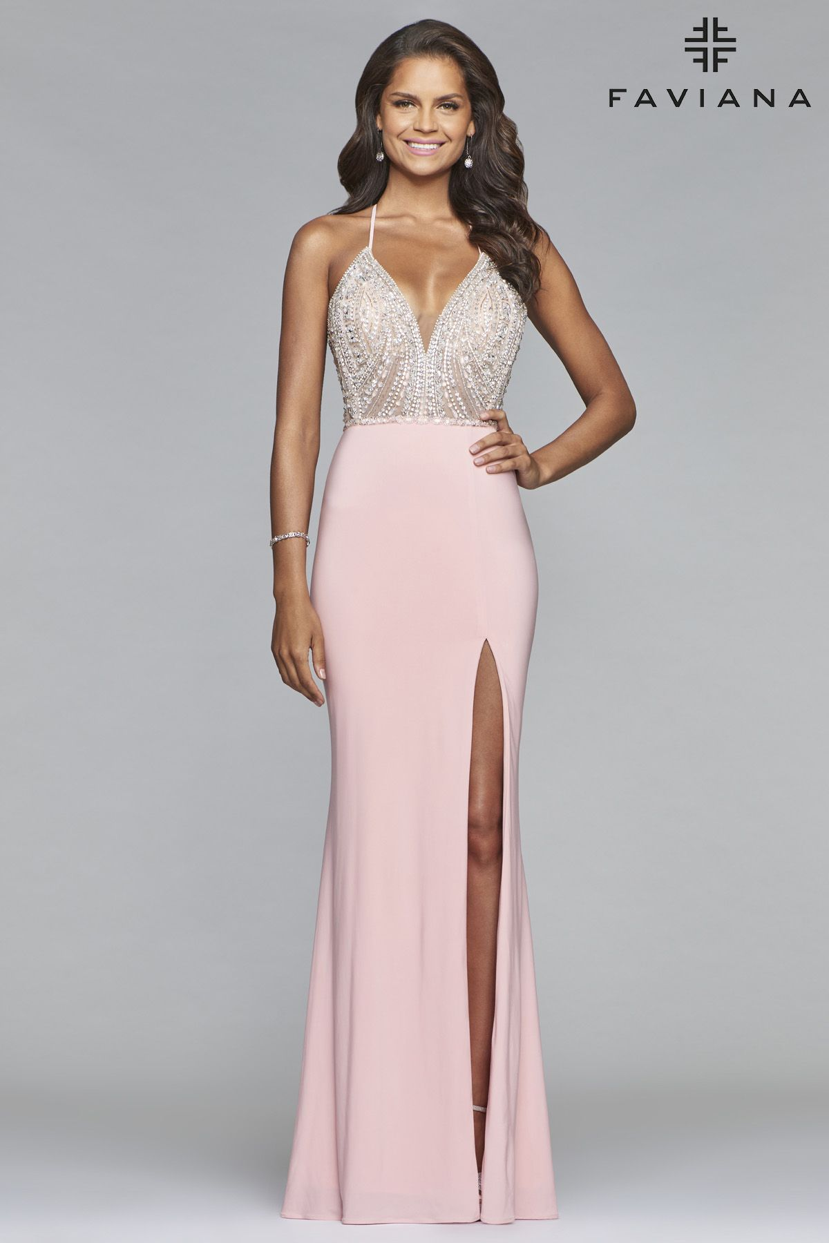 Beaded Stretch Jersey Gown