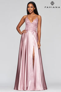 Beaded Top Charmeuse Gown