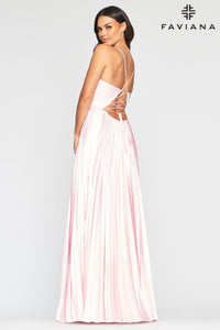 Pleated Charmeuse Gown