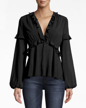 Load image into Gallery viewer, Silk Plunge Ruffle Blouse