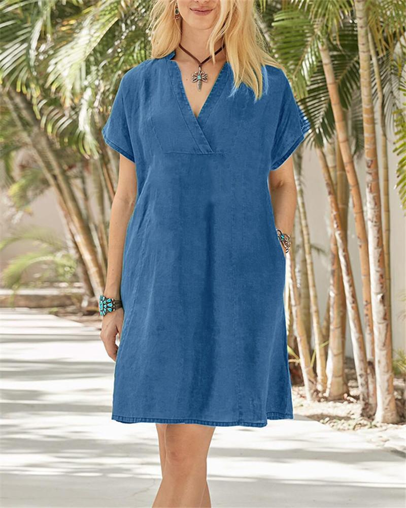 Washed Denim V-Neck Dress
