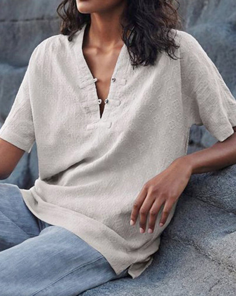 Casual Short Sleeve Solid Linen Top