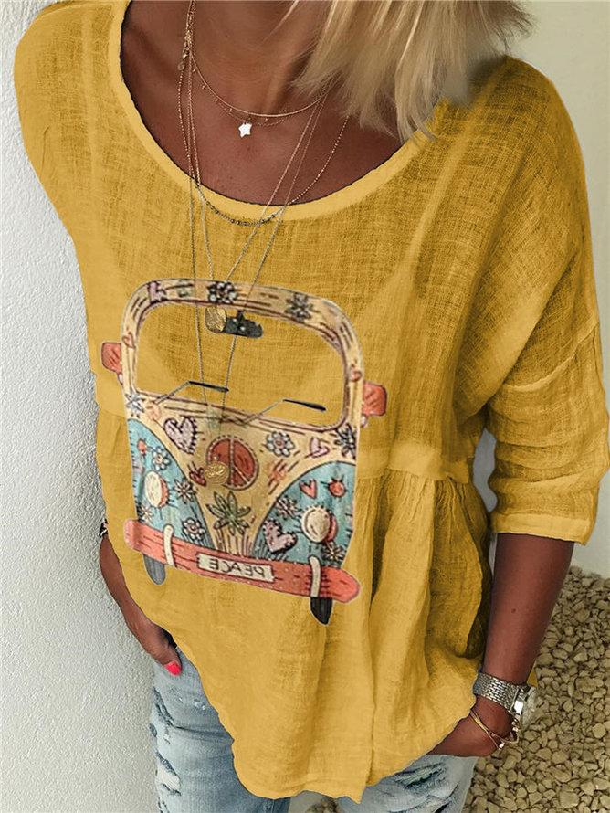 Crew Neck Cartoon Casual Long Sleeve Shirts & Tops