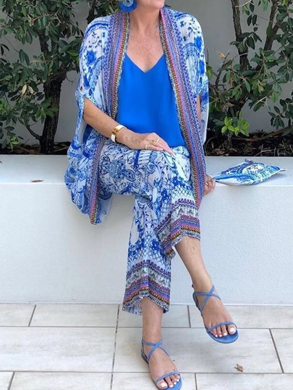 Casual Printed Cardigan Holiday Women's Suit