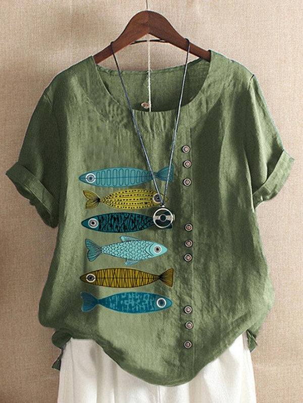 Casual Short Sleeve Round Neck Fish Print T-Shirt