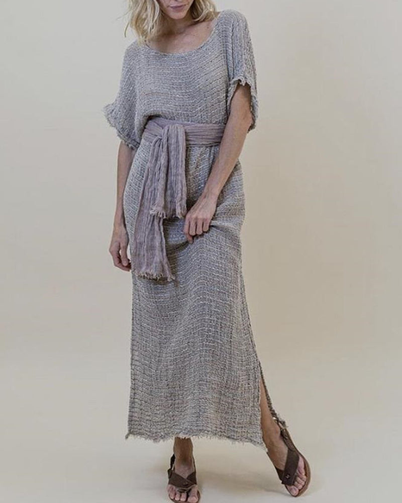 Vintage Linen Solid Casual Woman Maxi Dresses