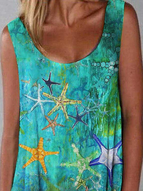 Designer Oil Painting Starfish Print Dress
