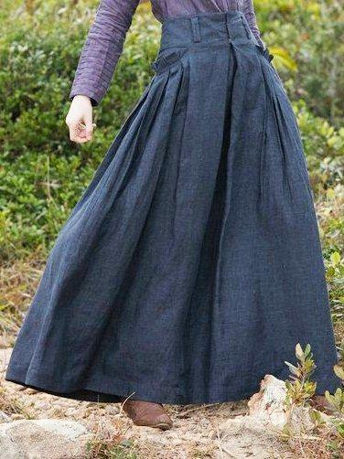 Vintage Linen Casual Solid Skirt