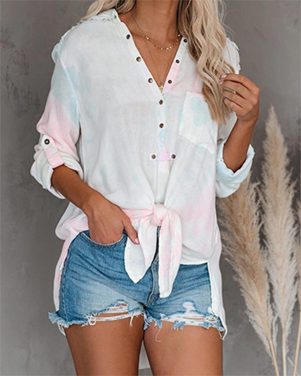 Vacation Casual Tie-Dye Buttoned Top