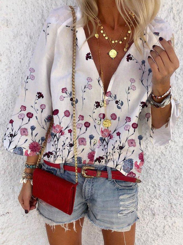 Casual V Neck 3/4 Sleeve Shirts & Tops