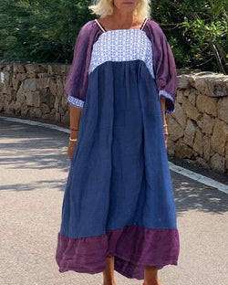 Solid color stitching linen straight dress