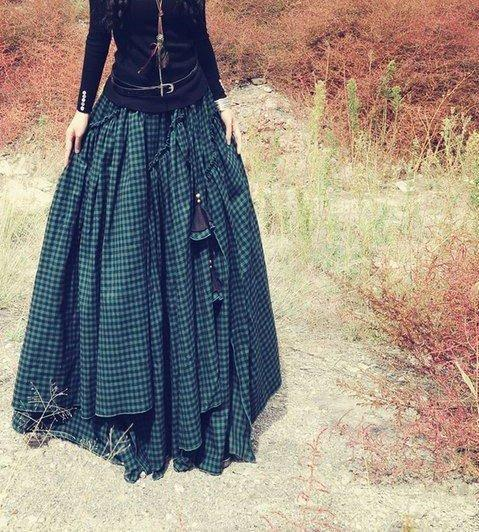 Asymmetric Plaid Cotton Vintage Skirt
