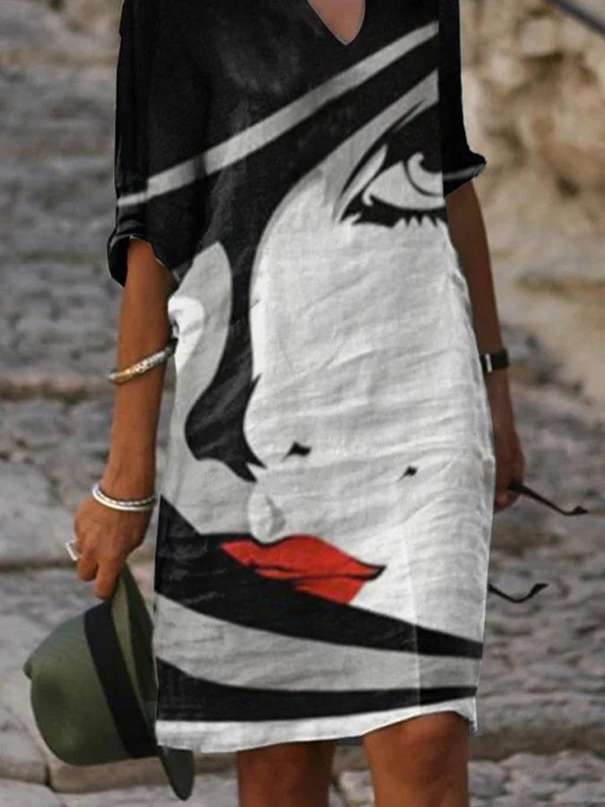 Black V-Neck Half Sleeve Printed Midi Dresses