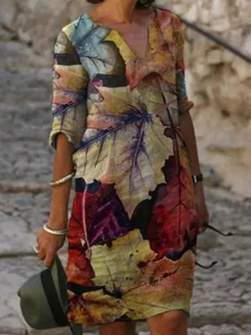 Casual Colorblock Printed Half Sleeve Dresses