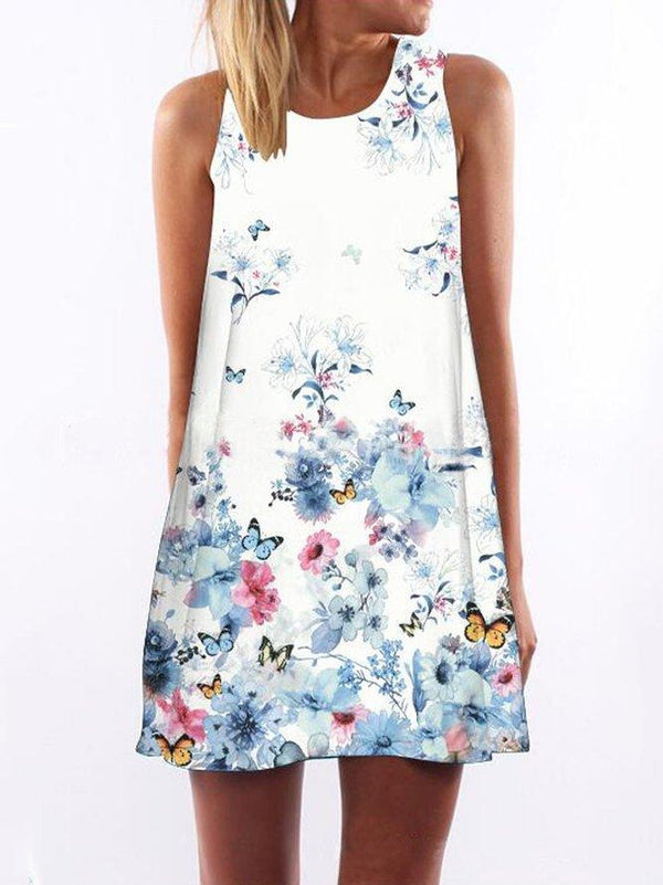 Round Neckline Floral Print Dress