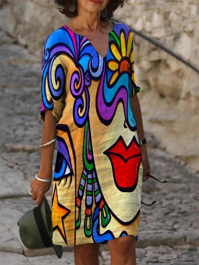Multicolor Shift Casual Abstract V Neck Dresses